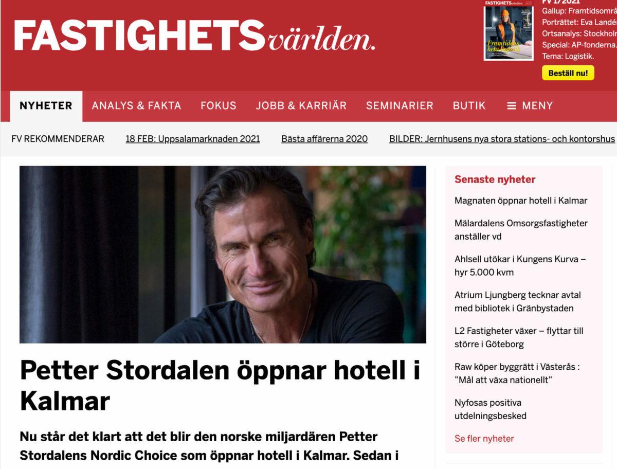 Fastighetsvärlden - Stordalen öppnar nytt hotell i Kalmar